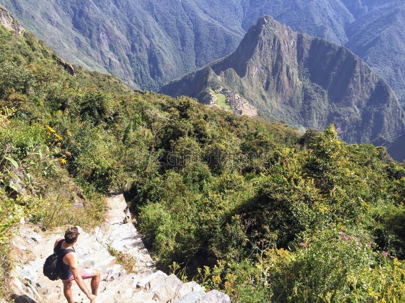 Una vista única e interesante del sitio antiguo del inca de Machu imagen de archivo libre de regalías