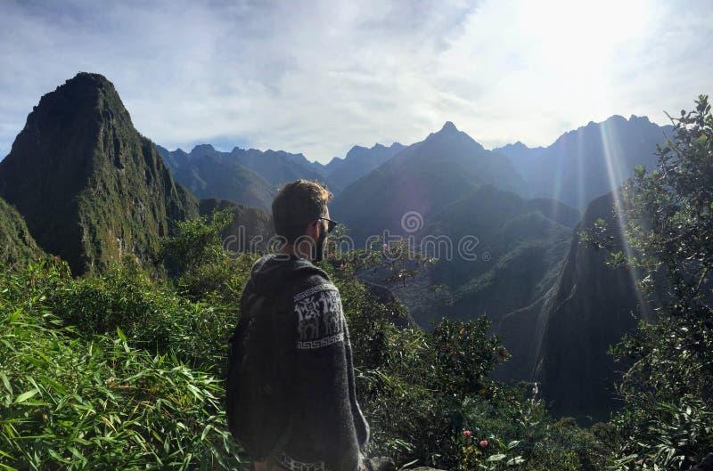 Una vista única e interesante del sitio antiguo del inca de Machu fotos de archivo libres de regalías