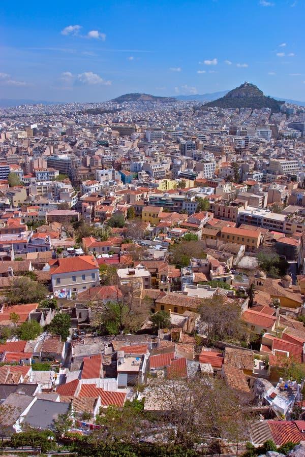 Una vista ad Atene dall'acropoli fotografia stock libera da diritti