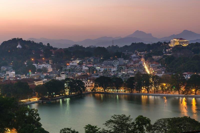 Una vista aerea della città Sri Lanka di Kandy fotografia stock libera da diritti