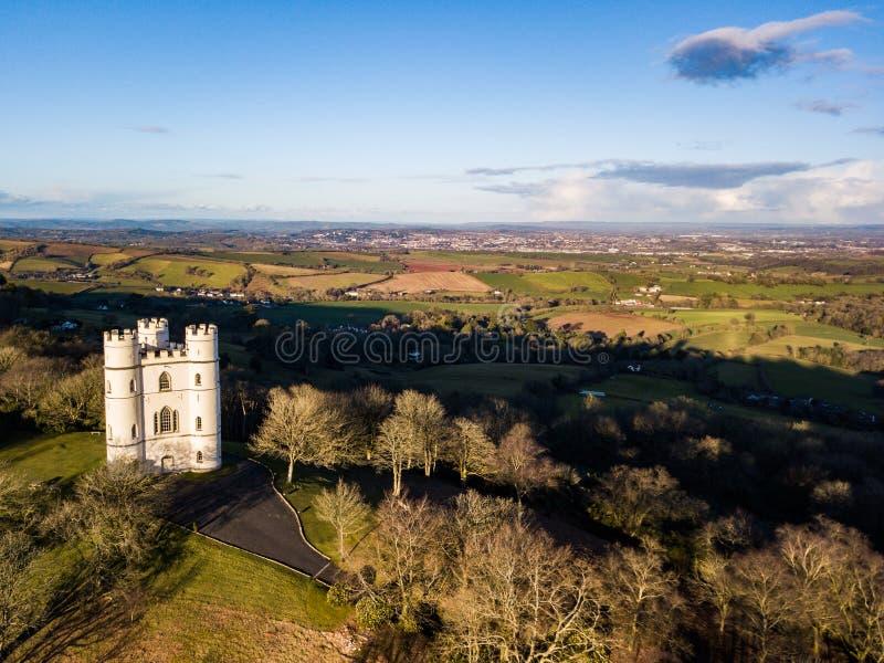 Una vista aerea della foresta di Haldon in Devon, Regno Unito fotografia stock