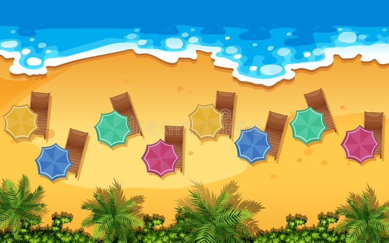 Una vista aerea della spiaggia illustrazione vettoriale