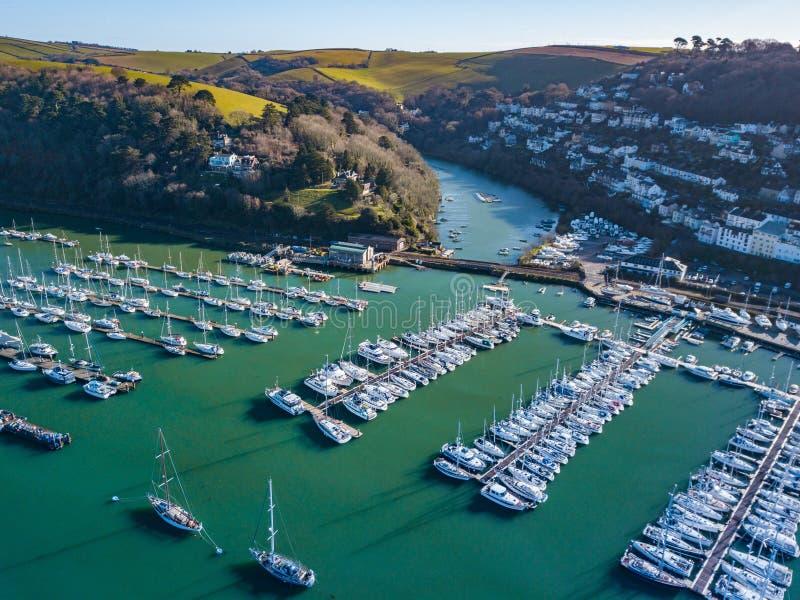 Una vista aerea di Dartmouth in Devon, Regno Unito fotografia stock libera da diritti