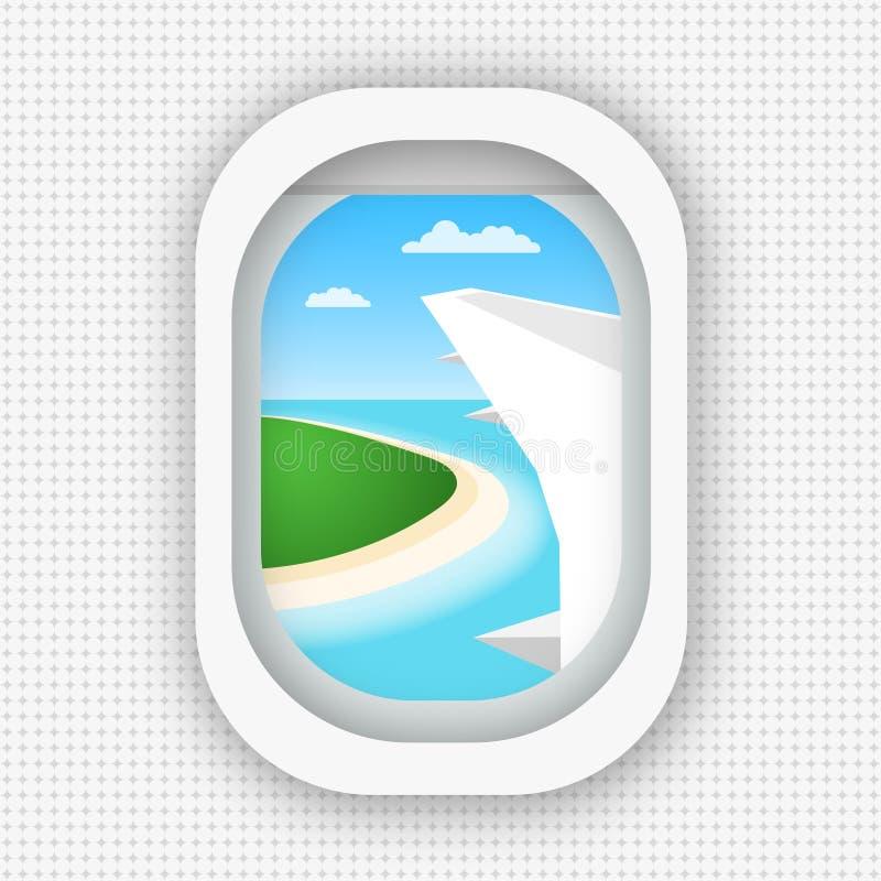 Una vista da una finestra di un aeroplano che sorvola il mare e l'isola Stile piano royalty illustrazione gratis