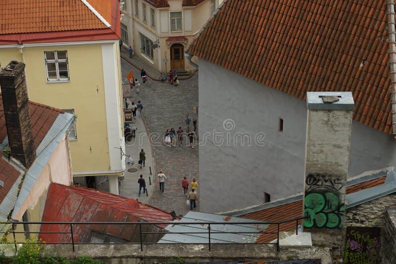 Una vista da sopra sopra una delle vie della città di Tallinn fotografia stock
