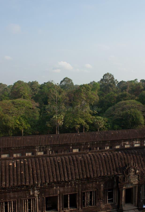 Una vista dal tempio Siem Reap dell'Unesco Angkor in Cambogia fotografia stock libera da diritti