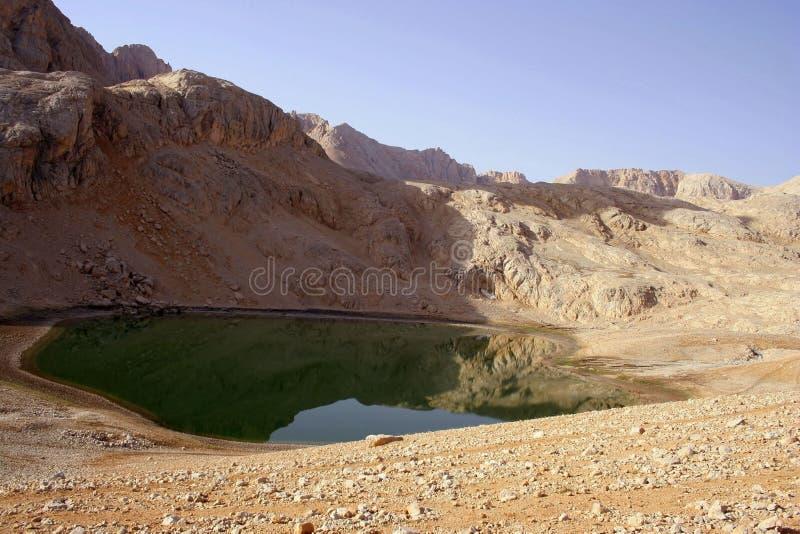 Una vista dalla montagna e da un lago immagini stock