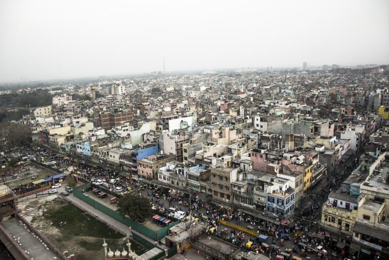 Una vista de Delhi vieja de un ojo del pájaro imagen de archivo libre de regalías