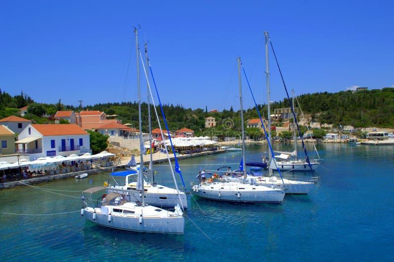 Una vista de Fiskardo, Grecia fotos de archivo libres de regalías