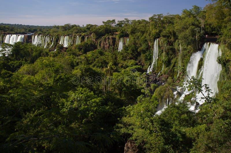 Una vista de las cataratas del Iguazú y de la selva en el parque nacional de Iguazu foto de archivo