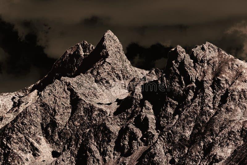Una vista de montañas colorized fantásticas en Suiza imágenes de archivo libres de regalías