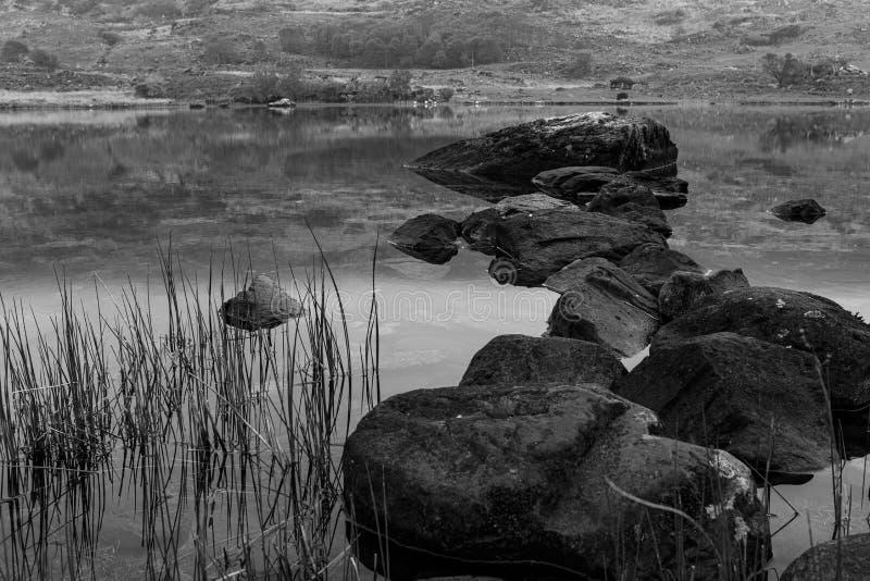 Una vista de rocas en el lago lough de Looscaunagh en el anillo de Kerry en el parque nacional Irlanda de Killarney imágenes de archivo libres de regalías
