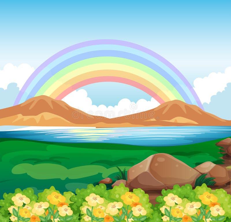 Una vista del arco iris y de la naturaleza hermosa libre illustration