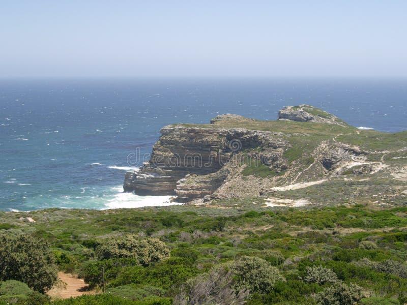 Una vista del Capo di Buona Speranza, guardante fuori al mare fotografia stock