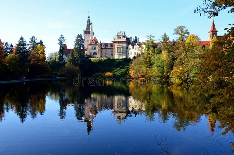 Una vista del castillo de Pruhonice imágenes de archivo libres de regalías