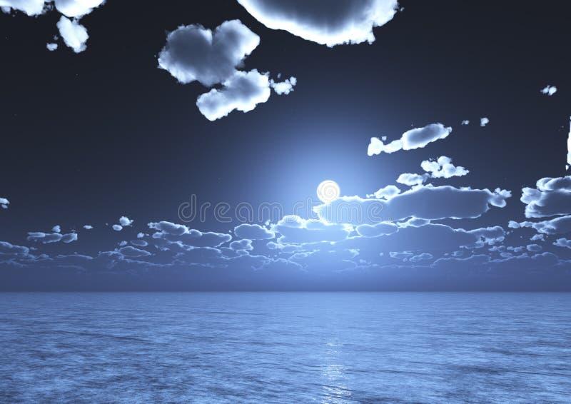 Una vista del cielo blu di notte con le nuvole e la luna piena ha riflesso sull'acqua illustrazione vettoriale