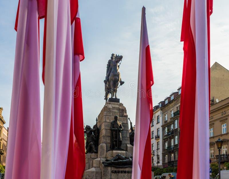 Una vista del monumento di Grunwald a Cracovia Polonia fotografie stock