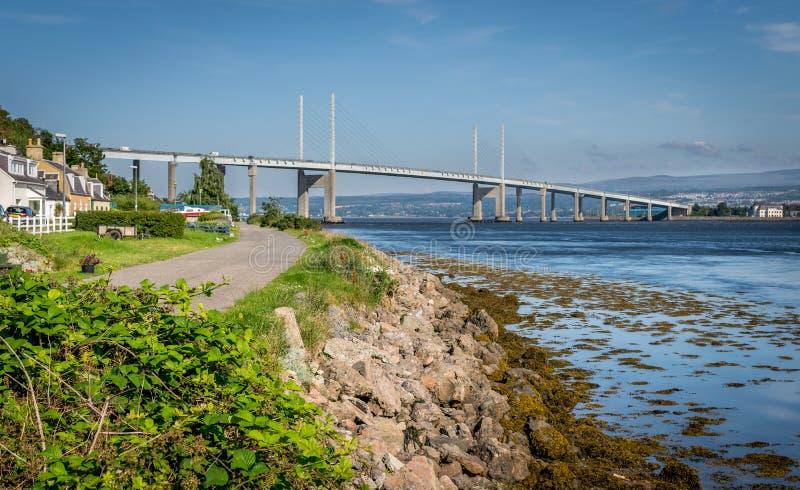 Una vista del ponte kessock nell'Inverness e la lussuria immagine stock libera da diritti