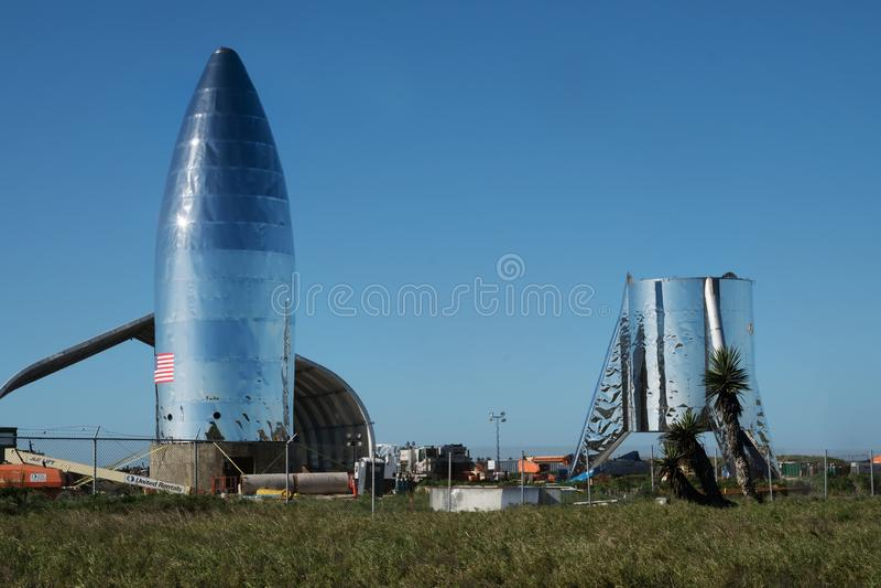 Una vista del prototipo Starship de SpaceX Boca Chica Village, Cameron County, Tejas, Estados Unidos foto de archivo libre de regalías