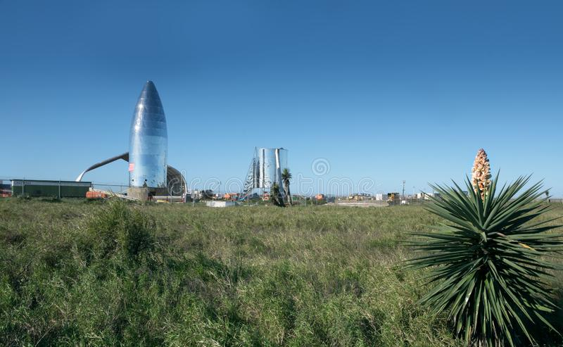 Una vista del prototipo Starship de SpaceX Boca Chica Village, Cameron County, Tejas, Estados Unidos fotos de archivo libres de regalías