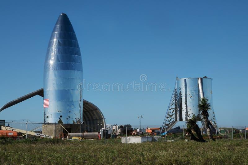 Una vista del prototipo Starship di SpaceX Boca Chica Village, Cameron County, il Texas, Stati Uniti fotografia stock libera da diritti