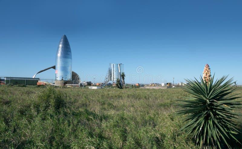 Una vista del prototipo Starship di SpaceX Boca Chica Village, Cameron County, il Texas, Stati Uniti fotografie stock libere da diritti