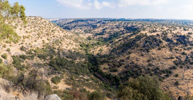 Una vista della natura su Golan Heights vicino allo stagno di esagoni in Israele fotografia stock