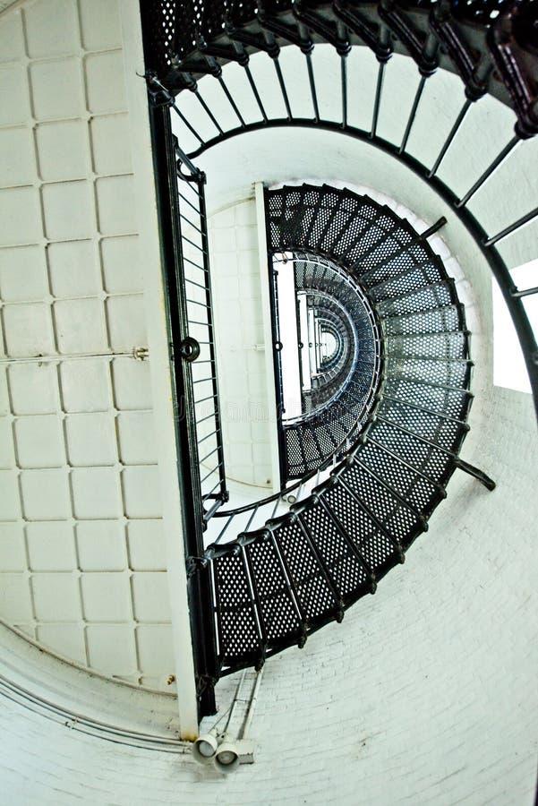 Una vista della scala a chiocciola dentro la st Augustine Lighthouse immagine stock libera da diritti