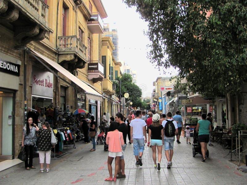 Una vista della via a Nicosia, Cipro immagine stock libera da diritti