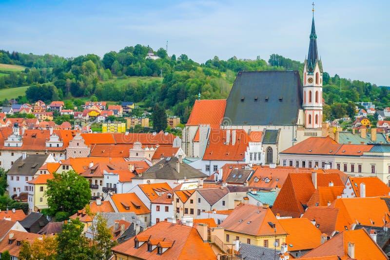Una vista di Cesky Krumlov, repubblica Ceca fotografie stock libere da diritti