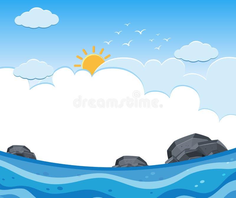 Una vista di oceano soleggiata e nuvolosa illustrazione di stock