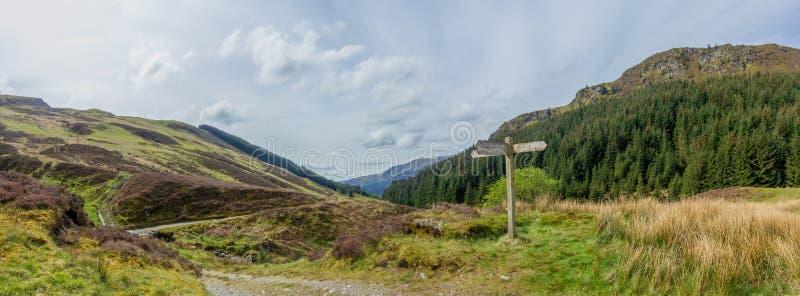Una vista di panorama di una valle con il pendio verde, foresta dell'albero di pini lungo un percorso della traccia con un segno  fotografia stock