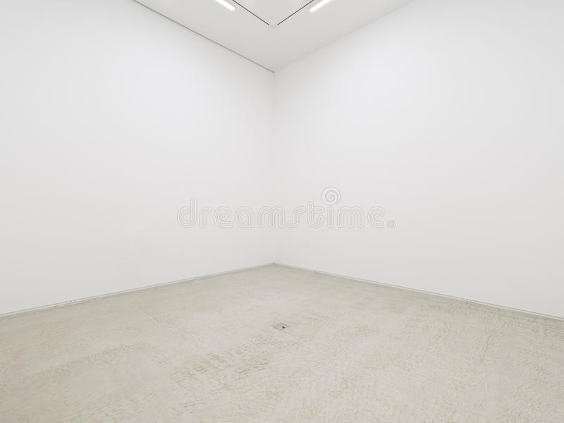 Una vista di un interno dipinto bianco di una stanza vuota o di una galleria di arte con un'illuminazione fluorescente ed i pavim immagini stock