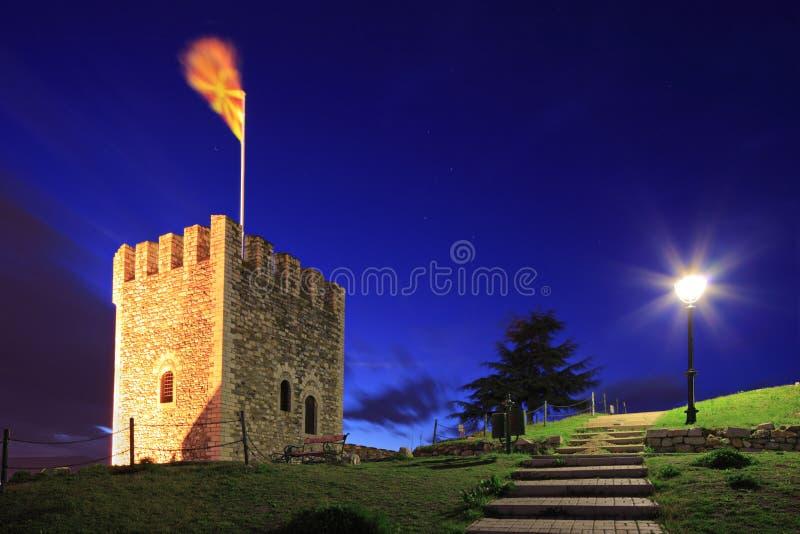 Una vista di un posto di guardia a Skopje fotografia stock
