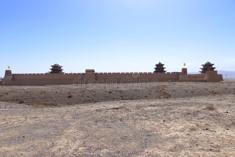 Una vista distante del passaggio Jiyuguan di Jiayu fotografie stock