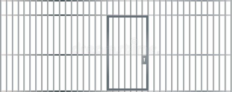 Una vista frontale delle barre di una cella con le sbarre di ferro e di una porta su un fondo isolato royalty illustrazione gratis