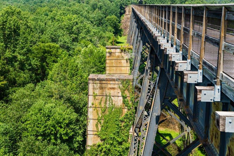 Una vista orizzontale del fiume di Appomattox dall'alto ponte immagine stock libera da diritti