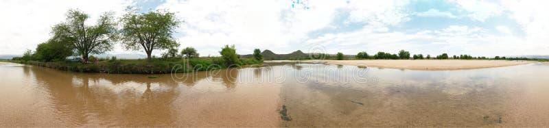 una vista panoramica di 360 gradi al fiume di Rio de los Sauces fotografia stock