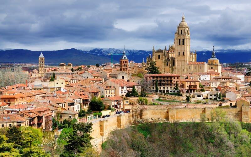Vista sopra Segovia, Spagna fotografia stock