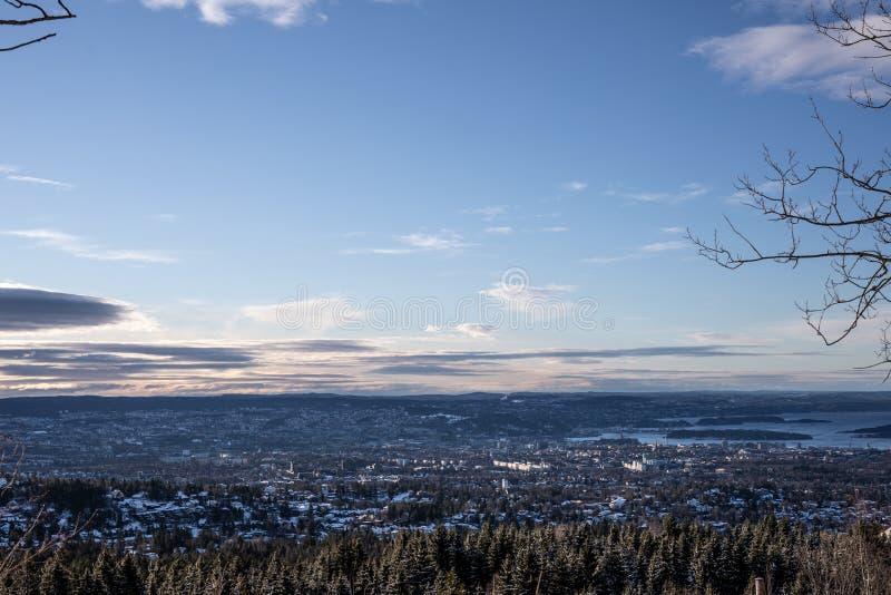 Una vista sopra Oslo Norvegia fotografie stock