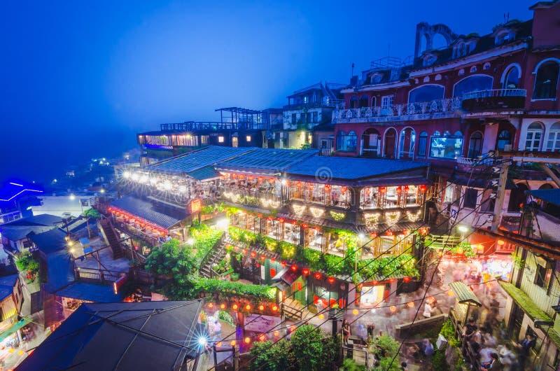 Una vista superiore e vista di vecchia via di Jiufen, un'area facente un giro turistico famosa di notte nella nuova città di Taip immagini stock libere da diritti