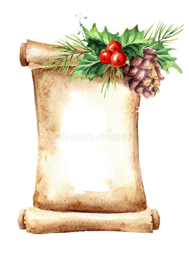 Una voluta del papel viejo con los elementos de la Navidad Ejemplo dibujado mano de la acuarela, aislado en el fondo blanco ilustración del vector