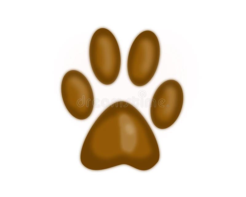 Una zampa animale del ` s Una traccia di colore marrone illustrazione di stock