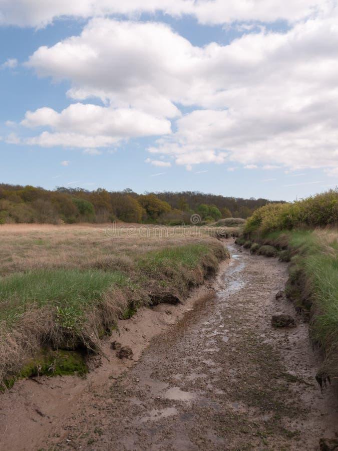 Una zanja baja del fango brillante afuera en un campo en el país fotografía de archivo
