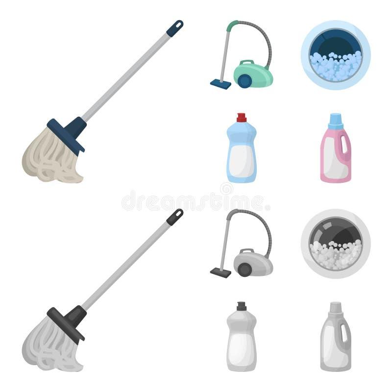 Una zazzera con una maniglia per lavare i pavimenti, un aspirapolvere verde, una finestra di una lavatrice con acqua e schiuma, a illustrazione vettoriale