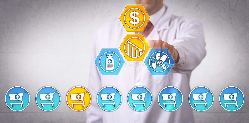 Unabhängiger Apotheker Reducing Profit Margin lizenzfreies stockbild