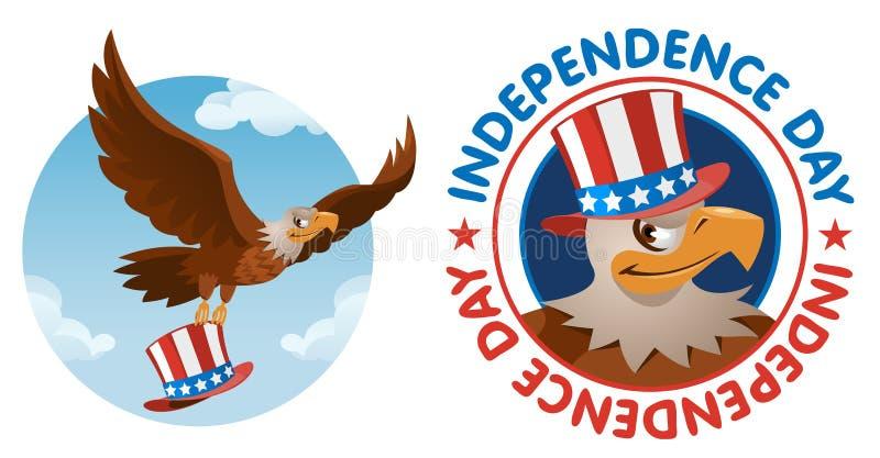 Unabhängigkeit Day Weißkopfseeadler im patriotischen Hut vektor abbildung