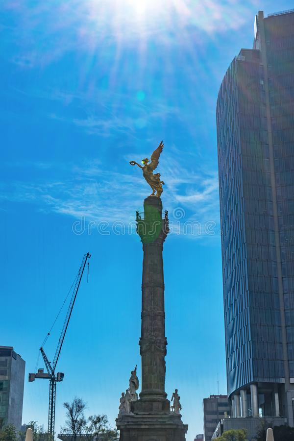 Unabhängigkeits-Angel Monument Under Sun Mexiko-Stadt Mexiko stockfoto
