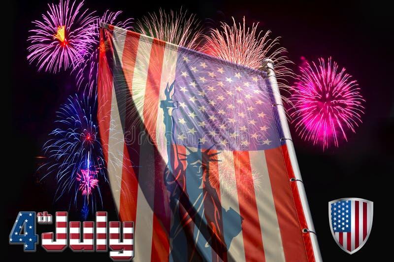 Unabhängigkeitstag, Flagge auf dem Hintergrund eines Grußes lizenzfreie stockbilder