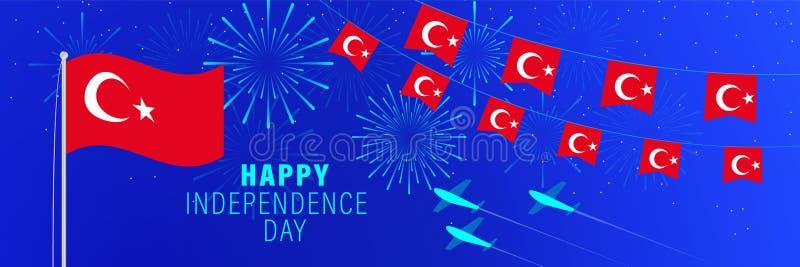 Unabhängigkeitstag-Grußkarte Oktobers 29 die Türkei Feierhintergrund mit Feuerwerken, Flaggen, Fahnenmast und Text vektor abbildung